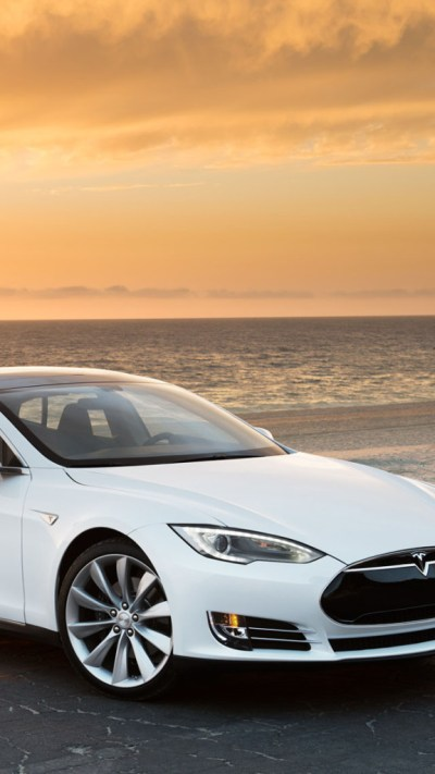 White Tesla Model S Wallpaper - Free iPhone Wallpapers