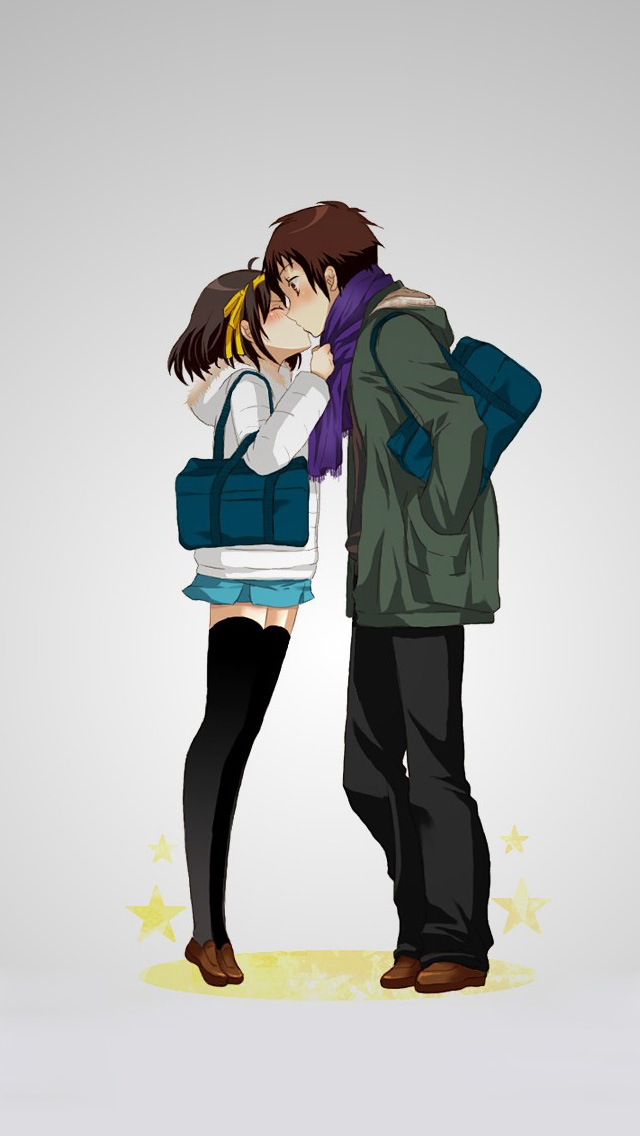 Download Cute Cartoon Couple Wallpapers Anime Lovers Kissing Iphone 6 6 Plus And Iphone 5 4