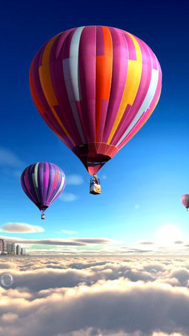 3d Wallpaper Girl And Boy Colorful Hot Air Balloons Over The Clouds Iphone 6 6
