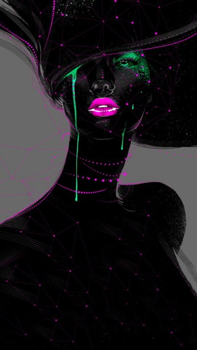 Fashion Woman Paint Art Wallpaper - Free iPhone Wallpapers