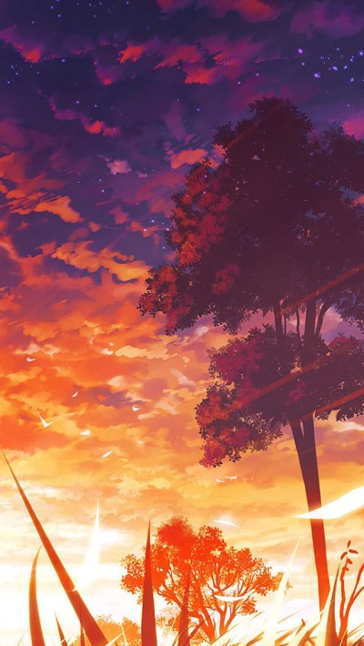 Anime Sunset Scenery iPhone 6 / 6 Plus and iPhone 5/4 Wallpapers