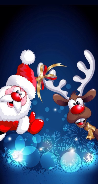 Cartoon Santa Claus and Deer Wallpaper - Free iPhone Wallpapers