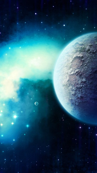 Planet In Starry Space Wallpaper - Free iPhone Wallpapers