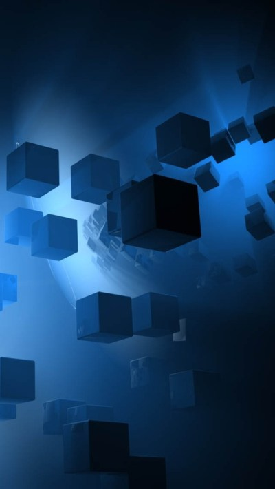 Blue 3D Cubes iPhone 6 / 6 Plus and iPhone 5/4 Wallpapers