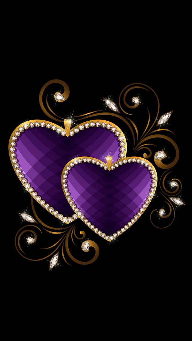 White Gold Wallpaper Hd Purple Love Heart With Gold Border Iphone 6 6 Plus And