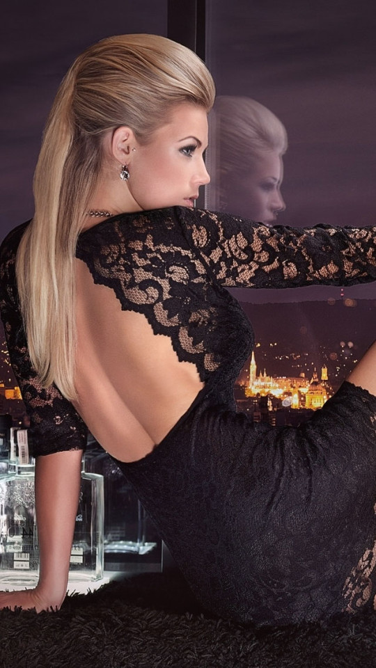3d Shelves Wallpaper Sexy Blonde With Black Lace Dress Wallpaper Free Iphone