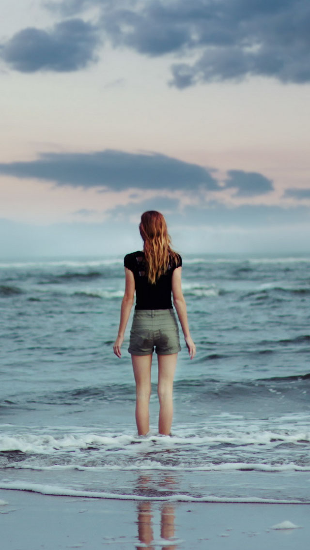 Girl Tshirts Hd Wallpaper Girl Facing The Sea Iphone 6 6 Plus And Iphone 5 4