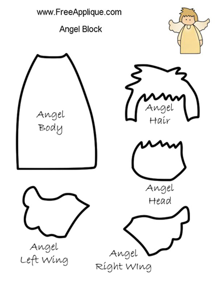 Printable Patterns - Applique an Angel Quilt Block