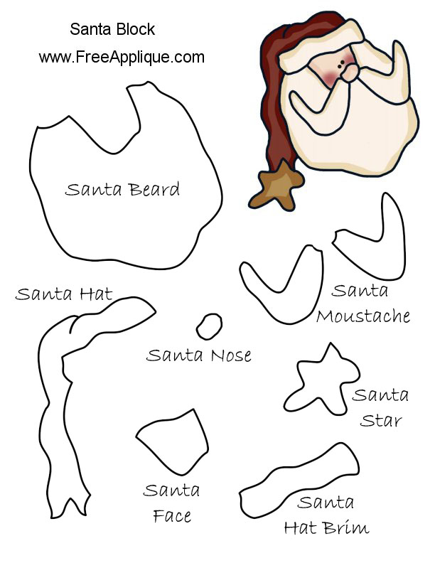 Printable Santa Face Pattern towelbars