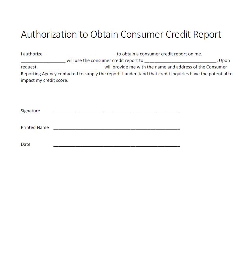 Authorization for credit check form - Generic - Free Authorization Forms - Credit Check Release Form