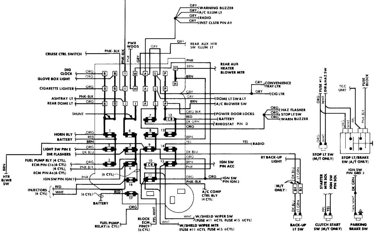 92 gmc safari fuse box diagram