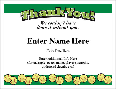 Thank You Certificate - Softball Template - Show appreciation
