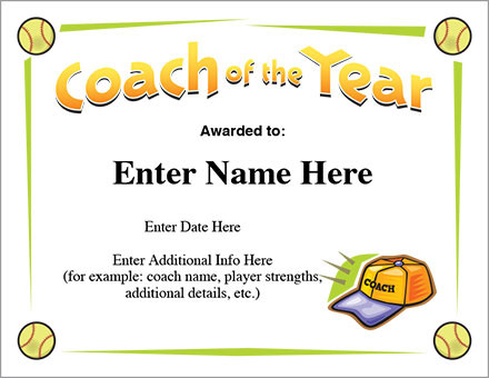 Coach of the Year Certificate - Softball Award Template