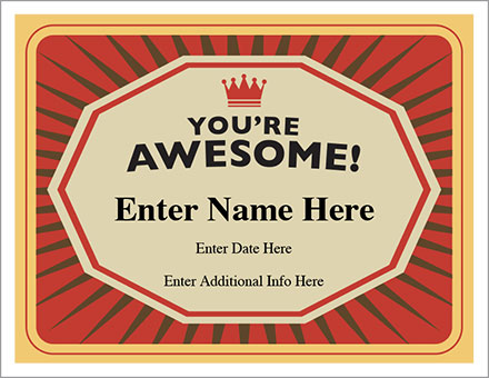 You\u0027re Awesome Certificate - Free Award Certificates