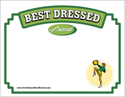 Best Dressed Certificate - Cheerleading Award Templates - award templates
