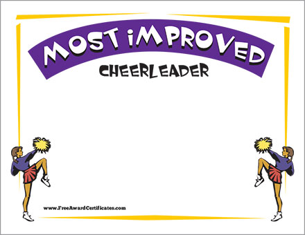 Most Improved Certificate - Cheerleader Award Templates - free award certificates