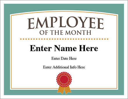 Employee of the Month Certificate - Free Award Certificates - best of free funny employee awards printable certificates
