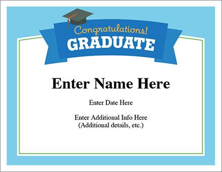 Congratulations Graduate Certificate Free Award Certificates