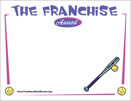 The Franchise Certificate - Softball Template Fastpitch Award
