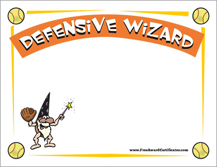 Defensive Wizard Certificate - Softball Templates