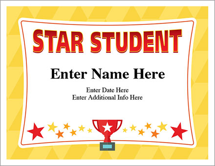 Star Student Certificate - Free Award Certificates