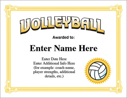 Volleyball Award Certificate - Free Award Certificates