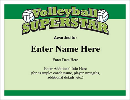 Volleyball Certificates - Free Award Templates