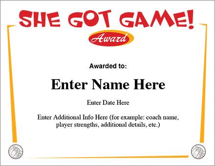 She Got Game Volleyball Certificate - Award Template