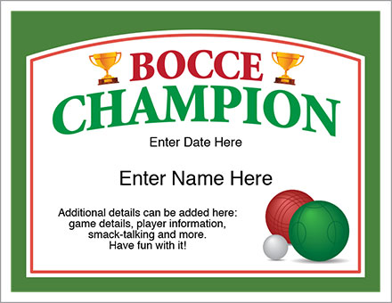 Bocce Champion Certificate - Free Award Certificates