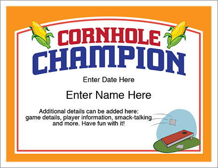 Cornhole Champion Certificate - Free Award Certificates