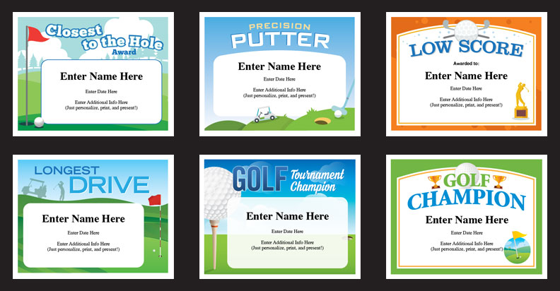 Golf Certificates Golfing Award Templates Golf Team Tournament