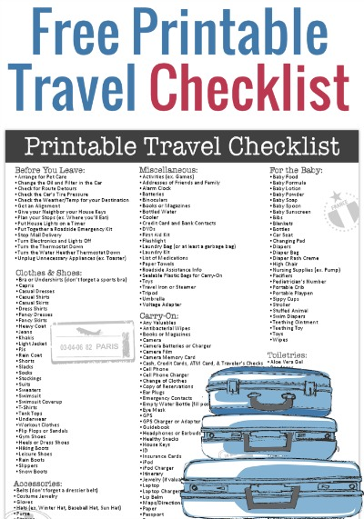 Free Printable Travel Checklist from Freebie Finding Mom - Travel Checklist