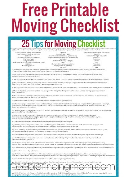 Tips for Moving, Plus, a Free Printable Moving Checklist