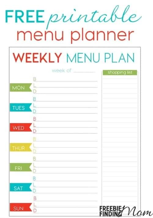 FREE Weekly Menu Planner Printable - weekly dinner planner with grocery list