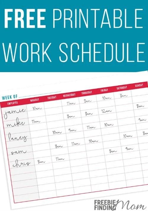 FREE Printable Work Schedule