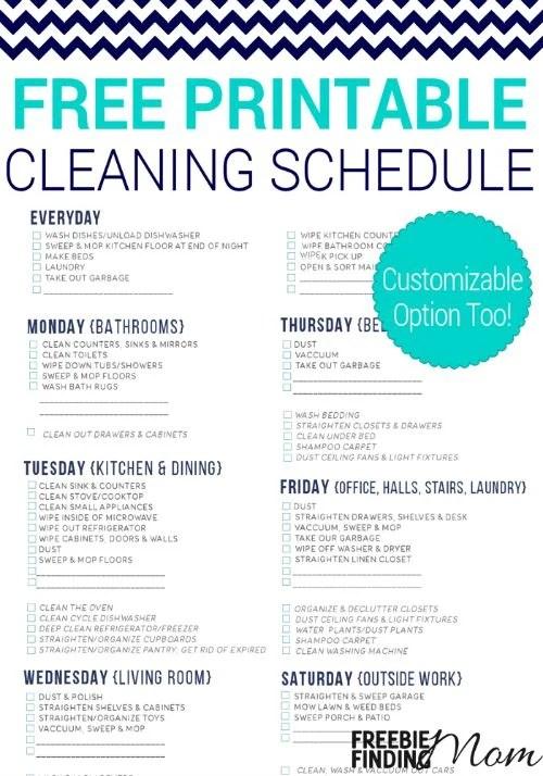 free-printable-cleaning-schedule-pin1jpg - weekly household chore list