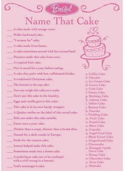 Wedding Cake Game For Bridal Shower name that wedding cake