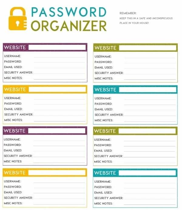 password organizer template word - zrom