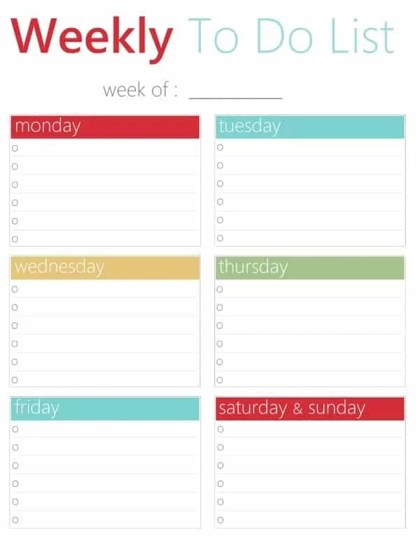 FREE Printable Weekly To Do List
