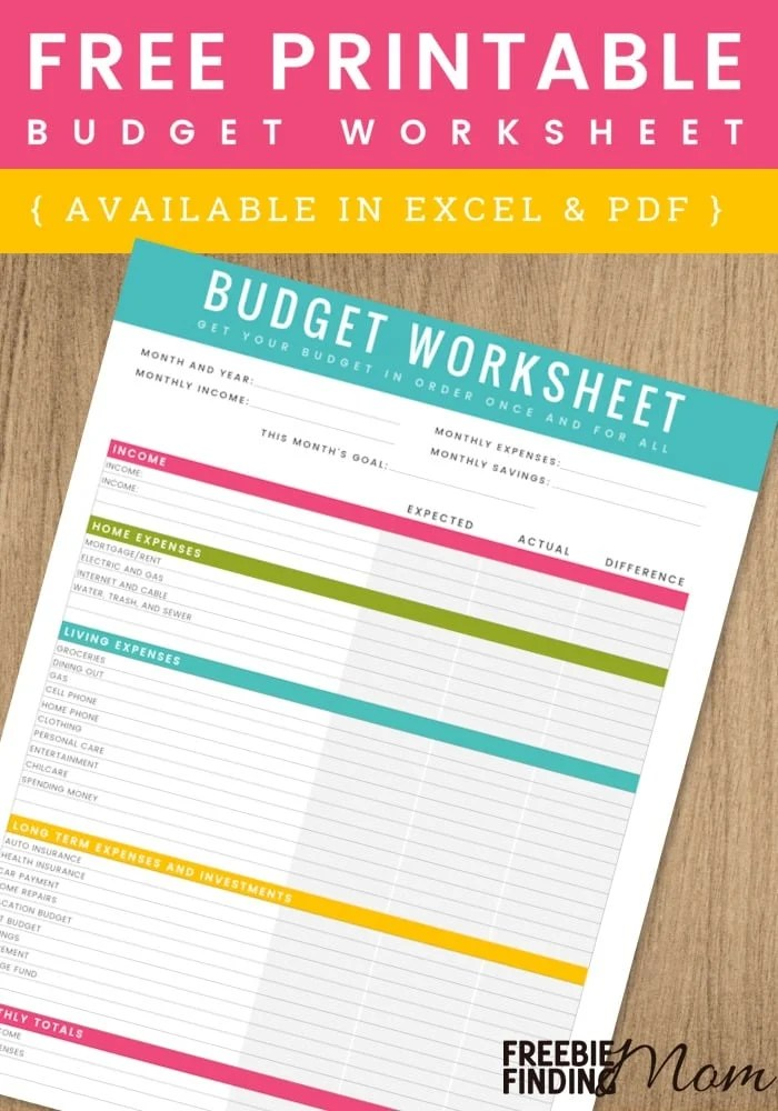 FREE Printable Household Budget Worksheet - free household budgets