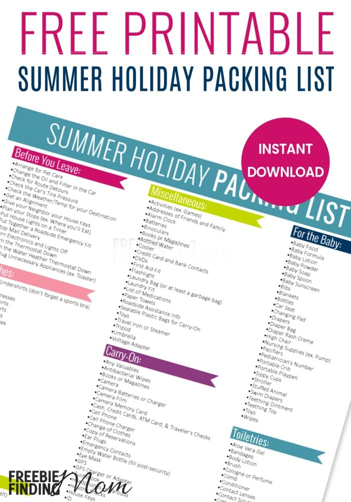 Free-Printable-Summer-Holiday-Packing-List-pinjpg - Vacation Packing List Printable