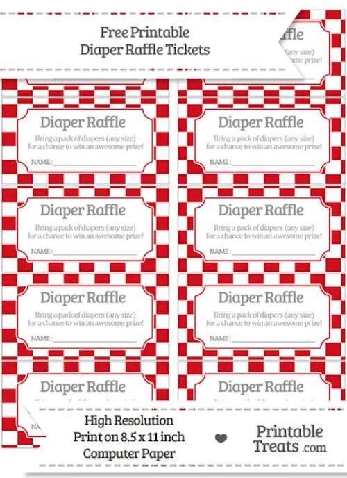 10 Free Printable Diaper Raffle Tickets - Page 2