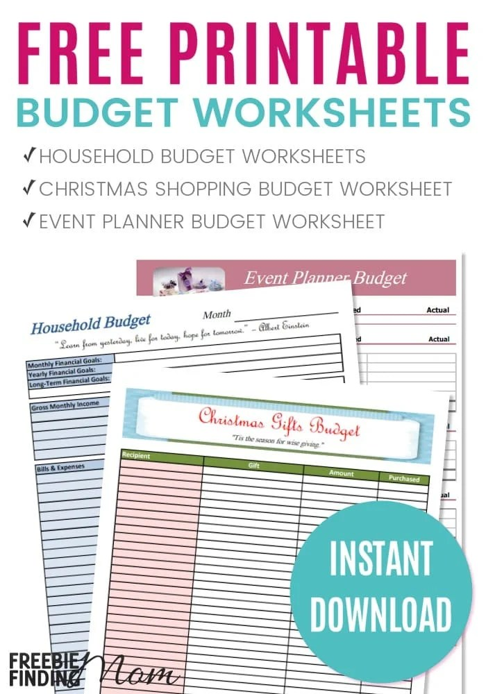 FREE Printable Budget Worksheets - free household budgets