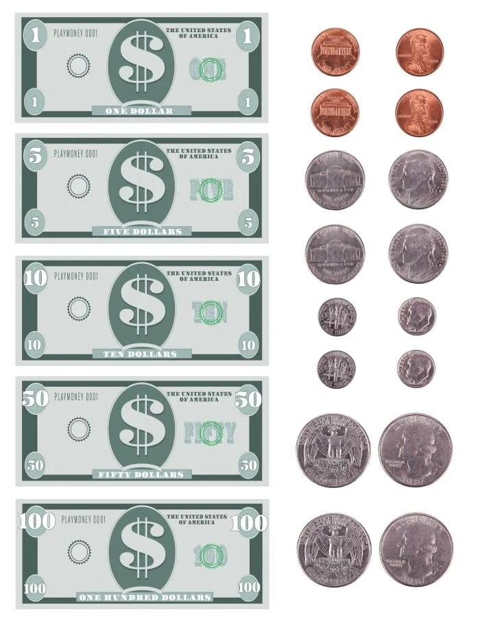 FREE Printable Play Money Template