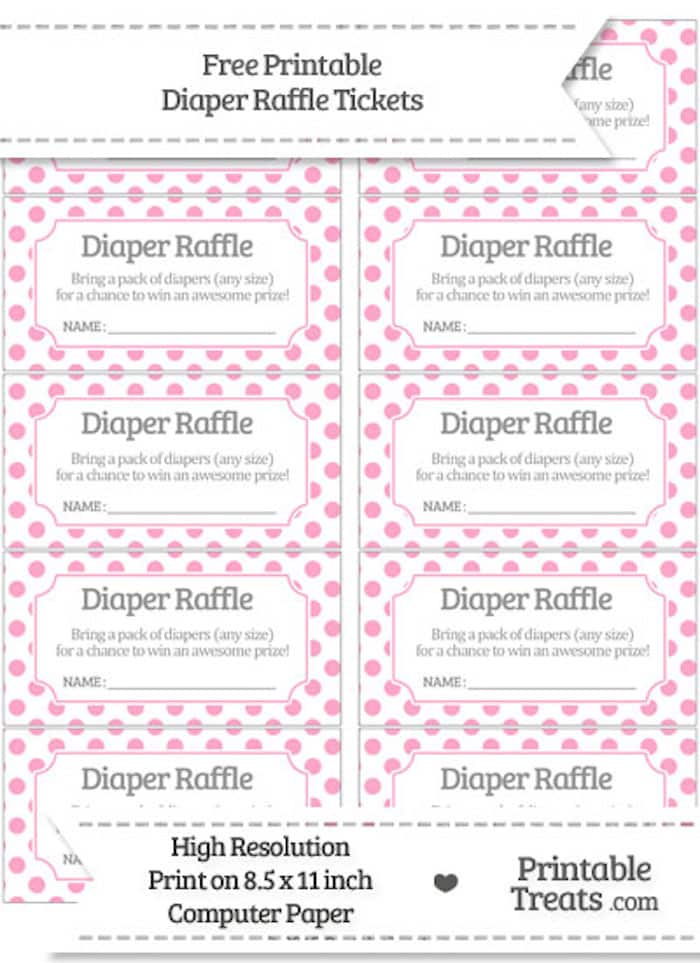 10 Free Printable Diaper Raffle Tickets