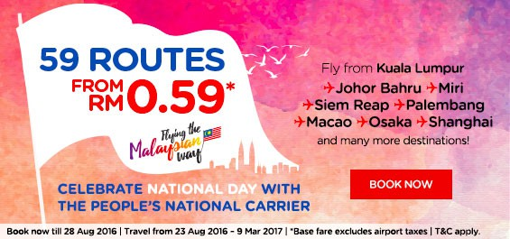 AirAsia National Day Promotion! Lowest fares from RM0.59