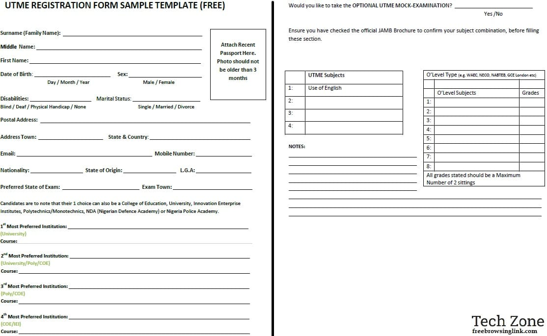 JAMB 2019 UTME Registration Form Template for All Centres - Example