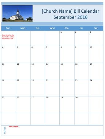 Bill Organizer Template - bill calendar