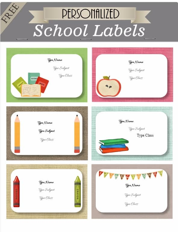 Free Kids School Labels Customize online  Print at home