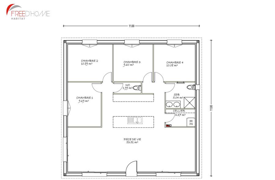 Freedhome-modele-carre-C2-104m2-planjpg (900×589) plans Pinterest - plan maison une chambre